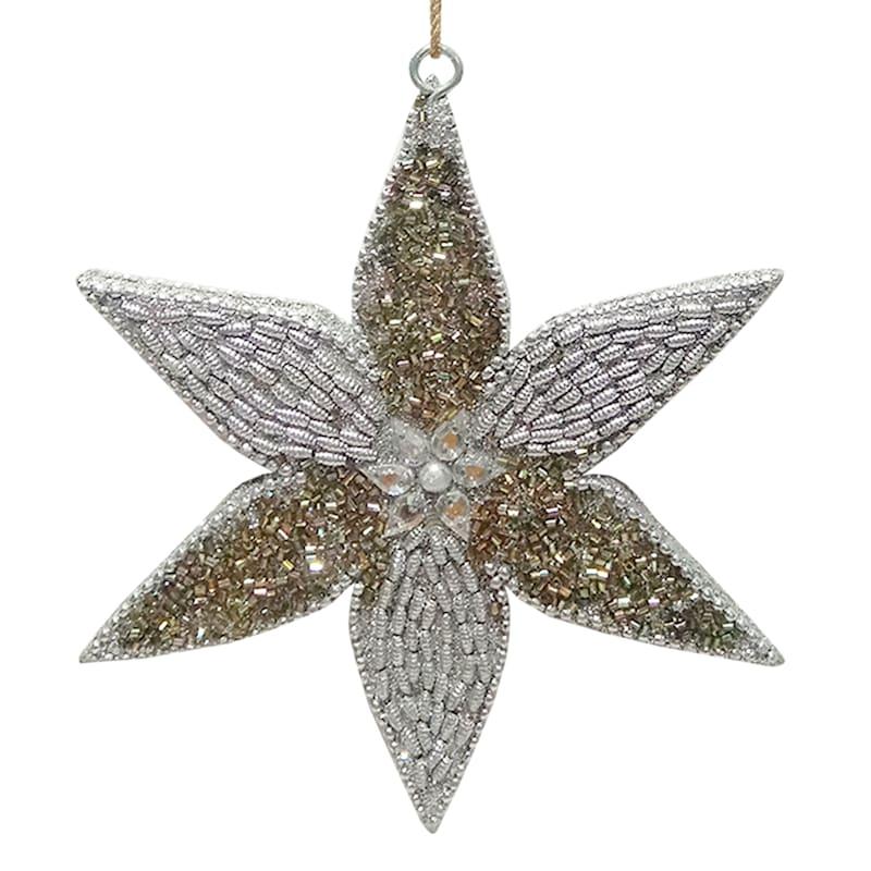 Silver & Gold Beaded Poinsettia Ornament