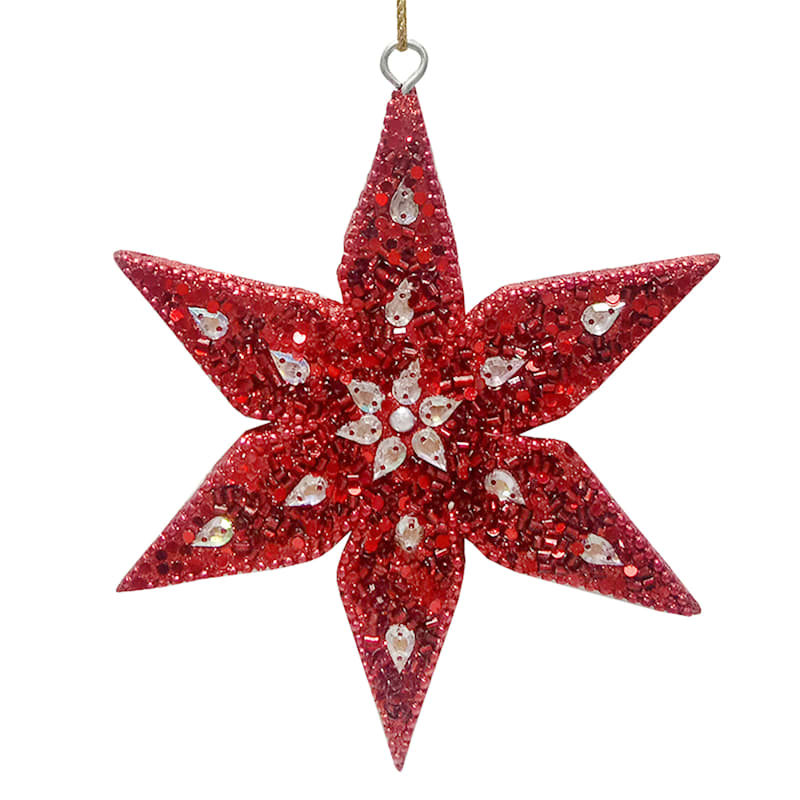 Red & Silver Beaded Poinsettia Ornament