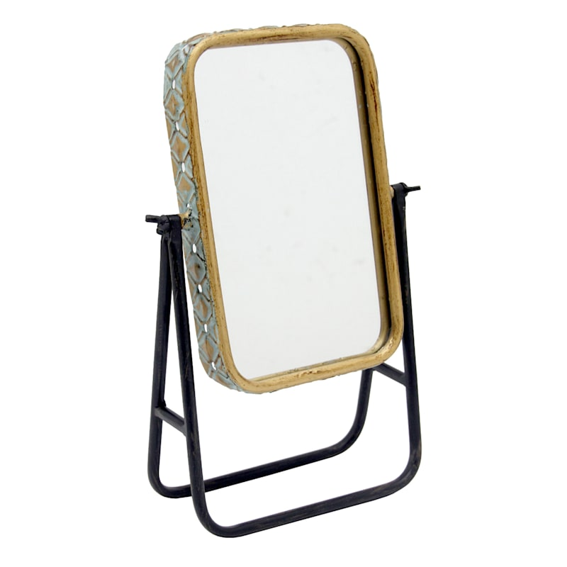Gold Mirror with Black Metal Base, 12""