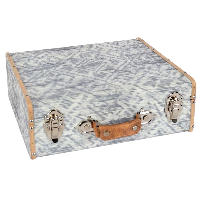"Light Grey Wooden Suitcase Box, 14"""