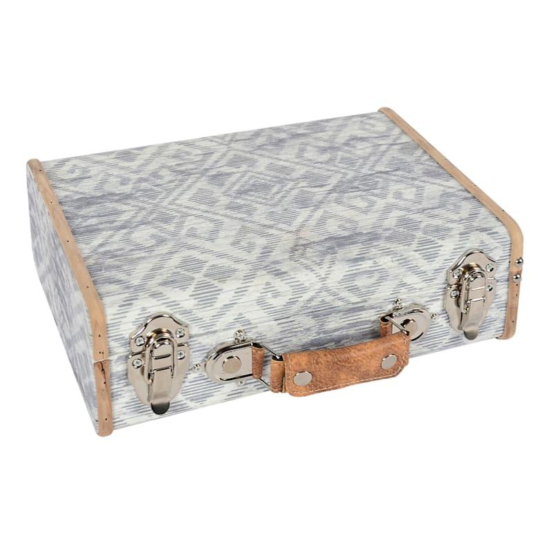 "Light Grey Wooden Suitcase Box, 12"""