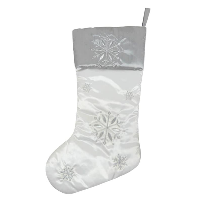 Silver & White Snowflake Stocking