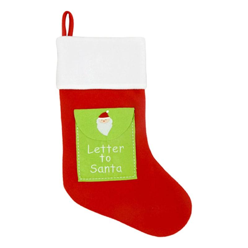 Green Letter To Santa Stocking