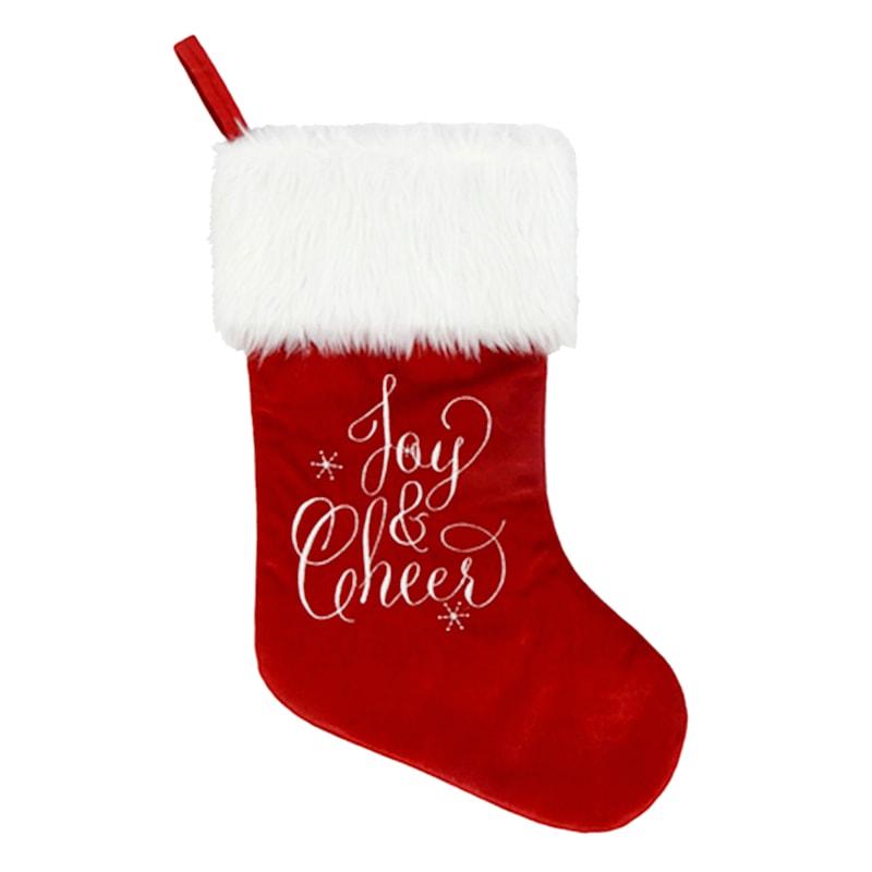 Joy & Cheer Faux Fur Cuff Stocking