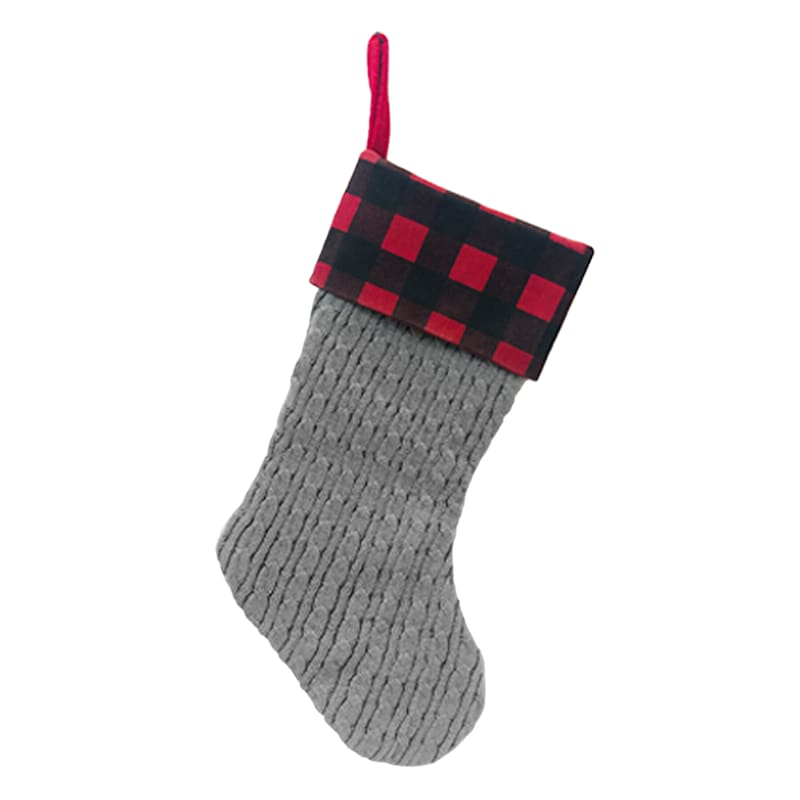 Grey Knit & Plaid Cuff Stocking