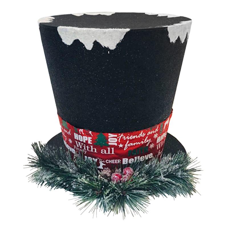 "Black Top Hat Tree Topper, 8"""