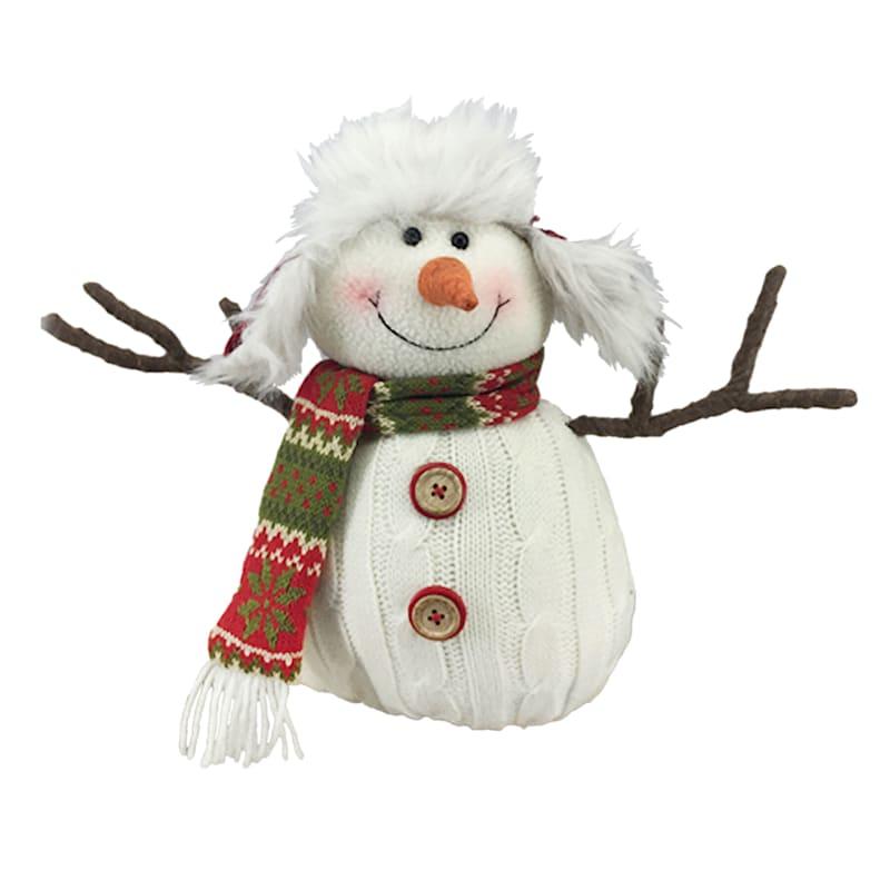 "Fabric Snowman Decor, 10"""