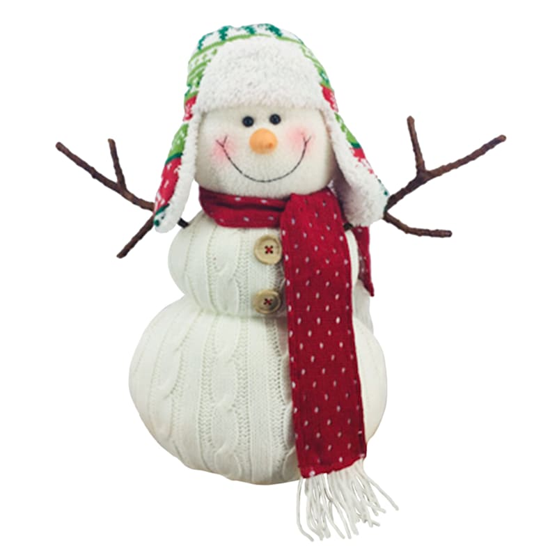 "Red Scarf Fabric Snowman Decor, 15"""