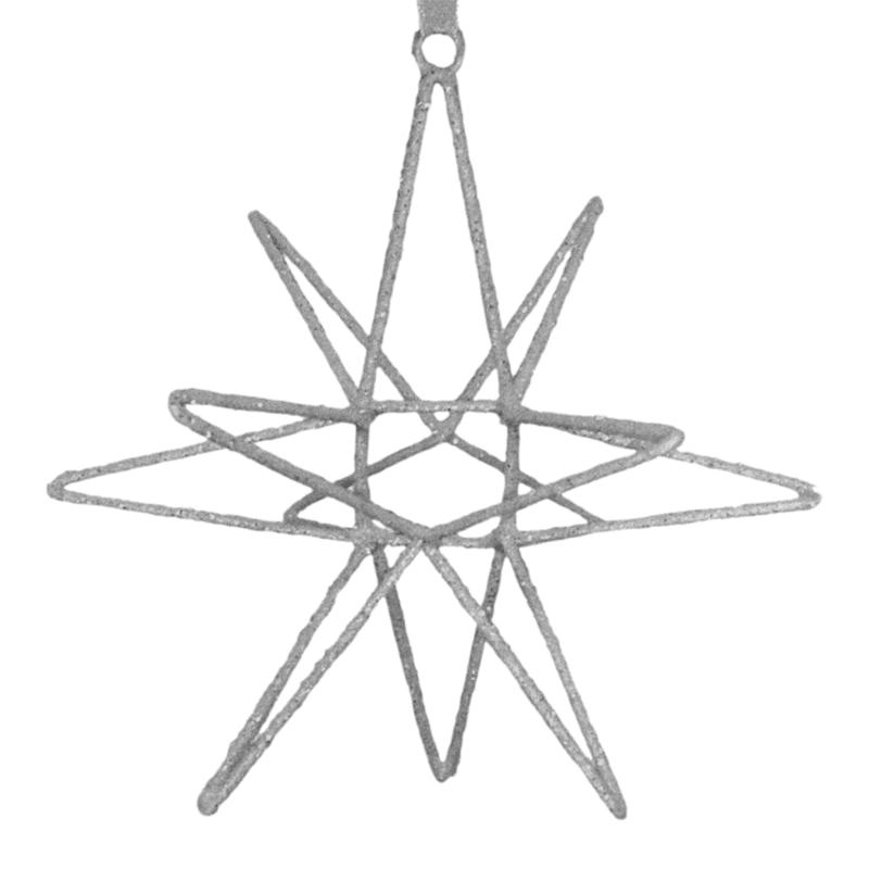 """Silver Wire Star Ornament, 6"""""""