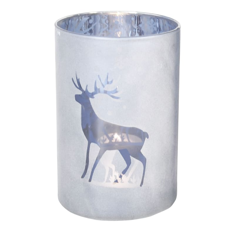 Frosted Deer Luminaire Cylinder, 4x6