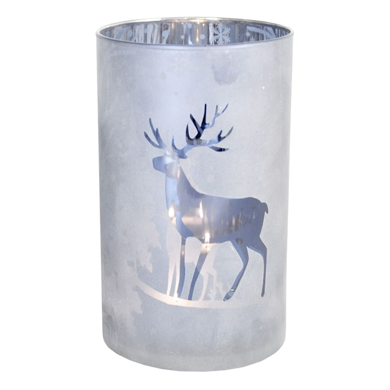 Frosted Deer Luminaire Cylinder, 5x8