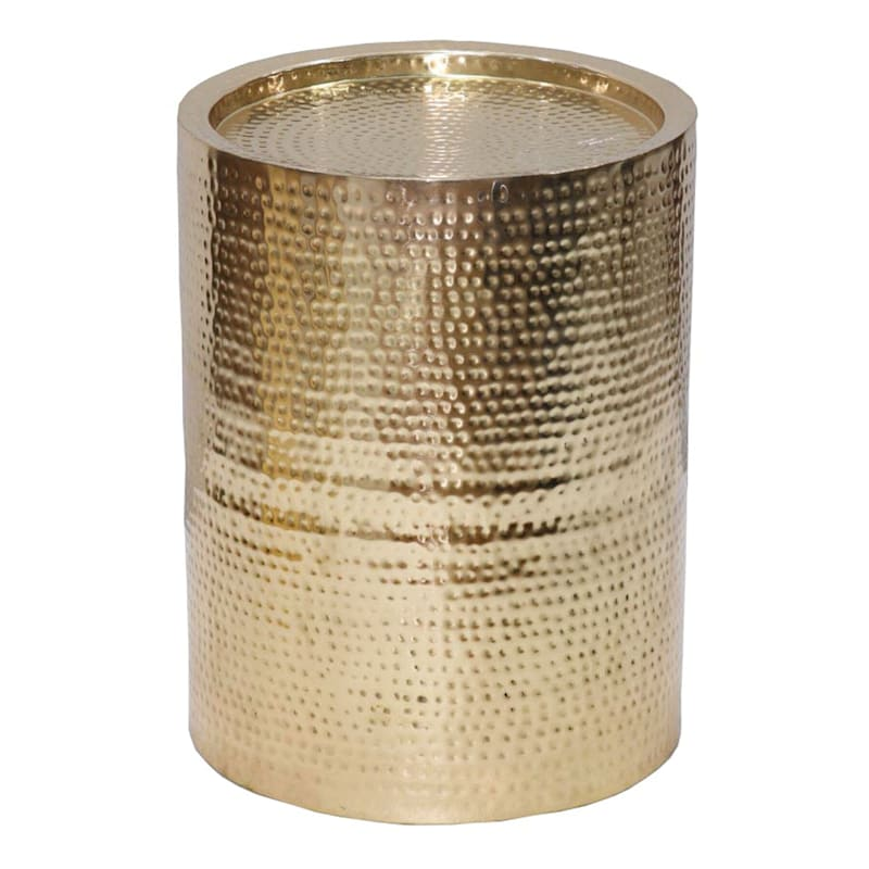 Hammered Gold Drum Accent Table, Large