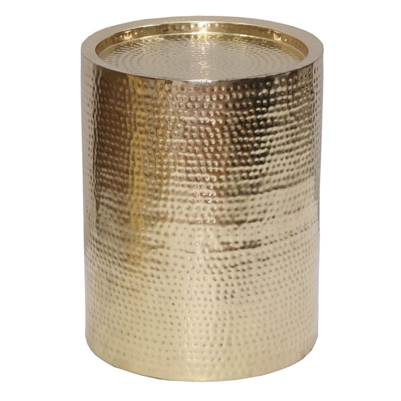 Hammered Gold Drum Accent Table, Medium