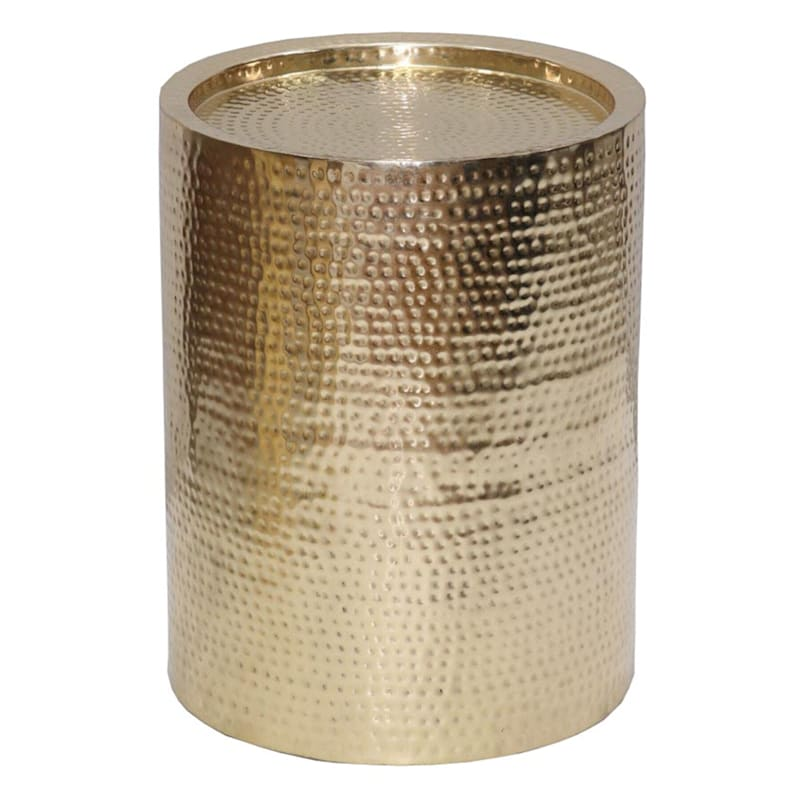 Hammered Gold Drum Accent Table, Small