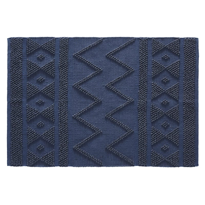 Reign Loop Cotton & Polyester Navy Scatter Rug, 2x4