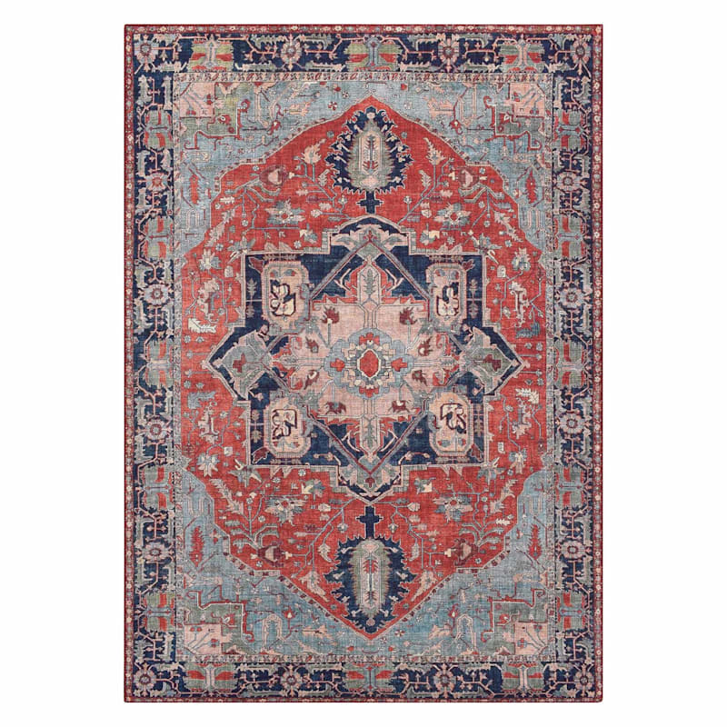 (D473) Chenille Printed Vintage Look Red Medallion Rug, 5x7