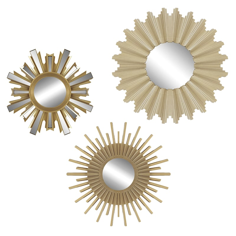 3 Pack Gold Sunburst Accent Mirrors At Home