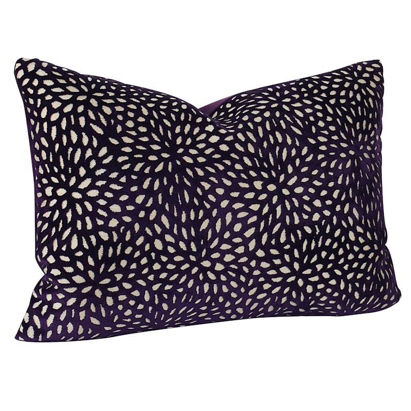 Purple Magnolia Pattern Velvet Pillow 14X20