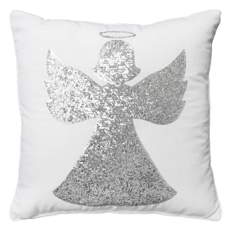 """White & Silver Angel Sequin Throw Pillow, 20"""""""