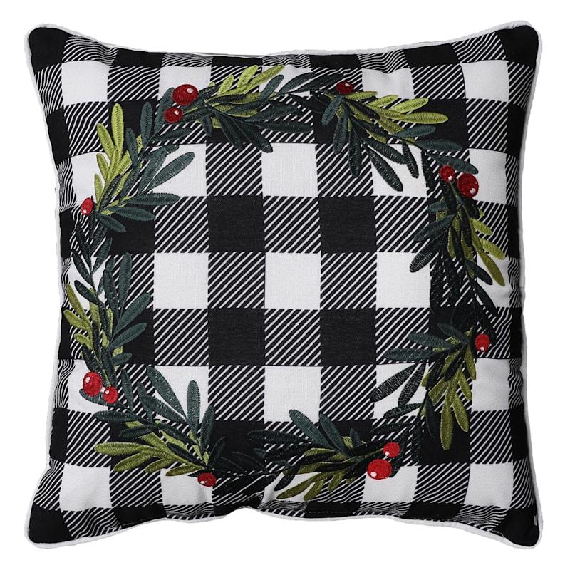 "Gingham Wreath Printed Throw Pillow,18"""