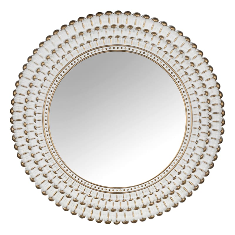 22in. White With Gold Mirror
