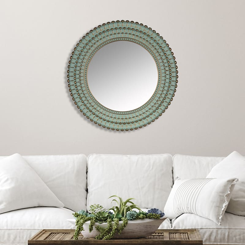 "Aqua Beaded Round Mirror, 22"""
