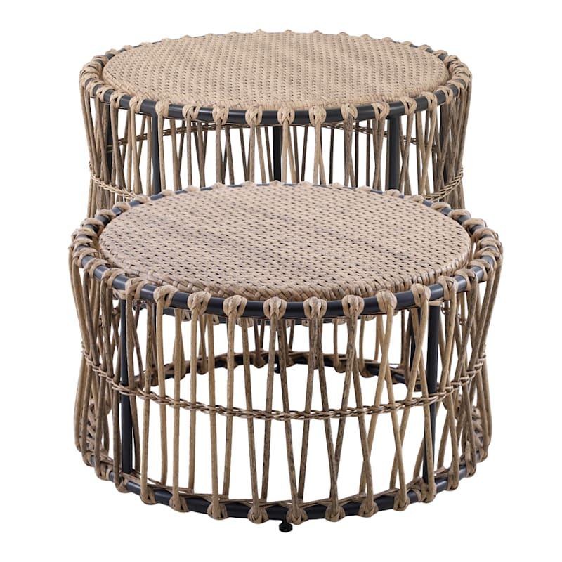 Tracey Boyd Steel 2-Piece Wicker Nesting Table Set