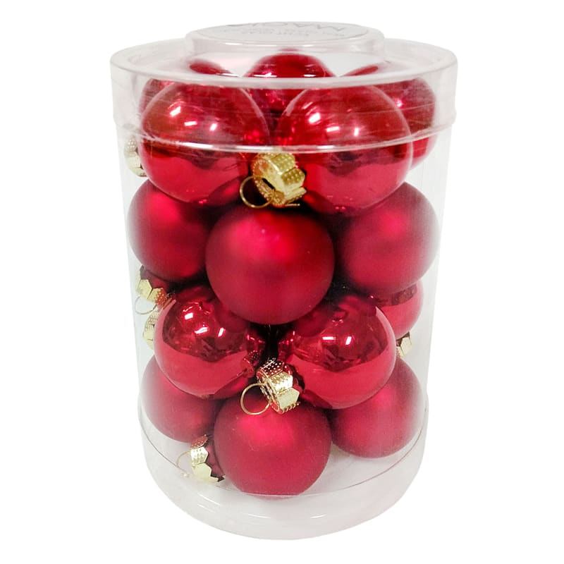 FAO Schwarz 20-Count Red Glass Ornament Set
