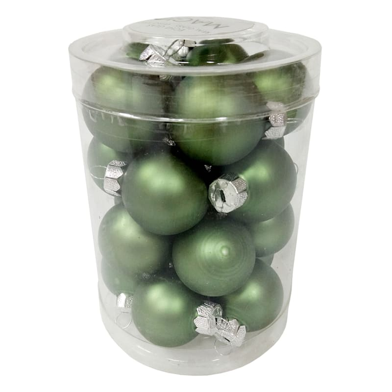 20-Count Olive Green Glass Ornament Set