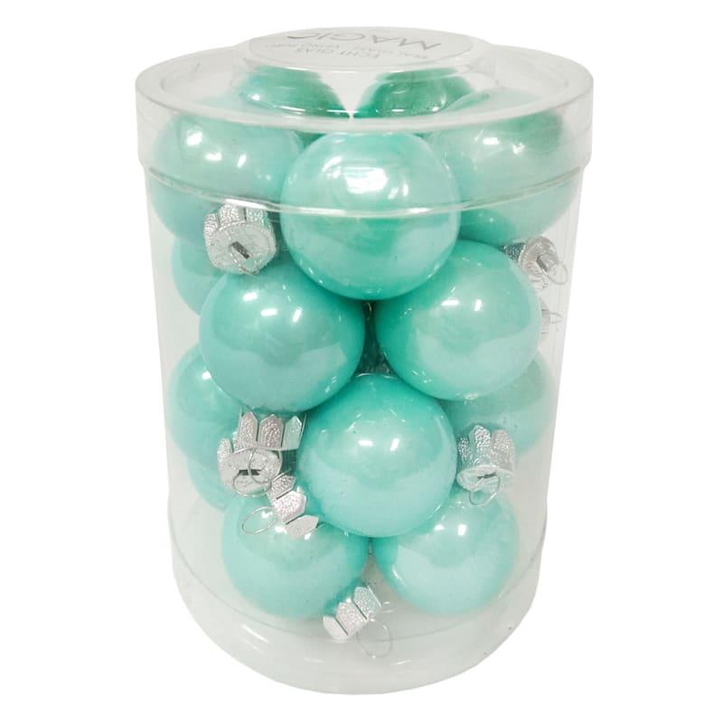 20-Count Aqua Glass Ornament Set