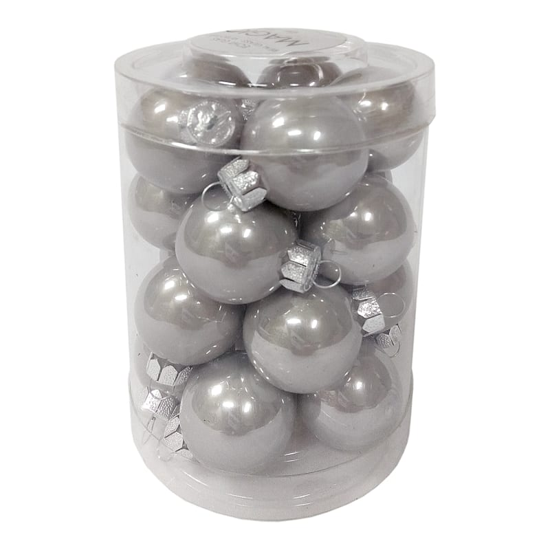 20-Count Silver Glass Ornament Set