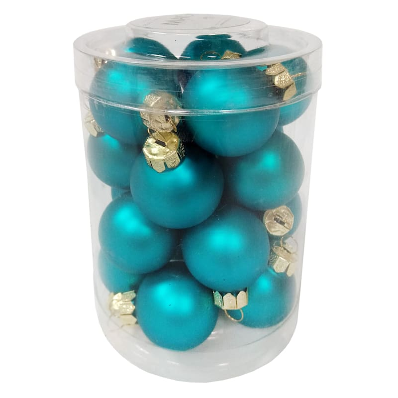 20-Count Teal Glass Ornament Set