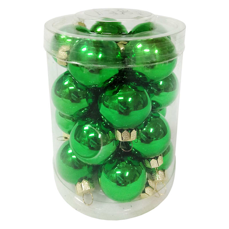 20-Count Green Glass Ornament Set