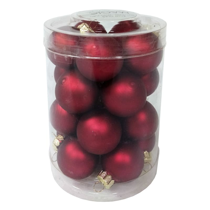 20-Count Dark Red Glass Ornament Set