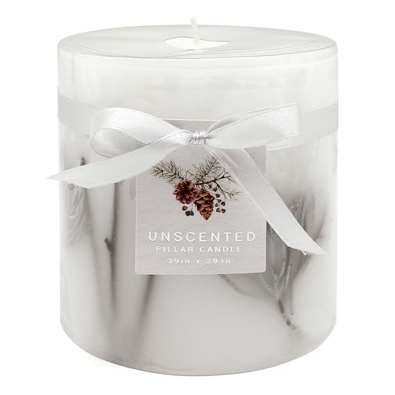 White Unscented Pillar Candle, 4x4