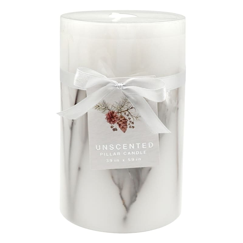 White Unscented Pillar Candle, 4x6