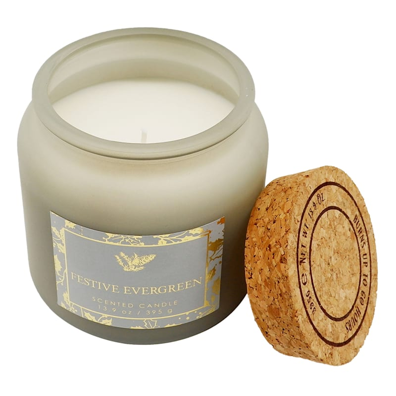 Festive Evergreen Cork Lid Candle, 13.9oz