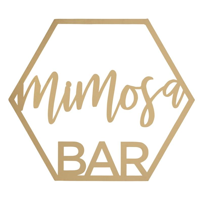 Mimosa Bar Gold Metal Wall Decor Sign