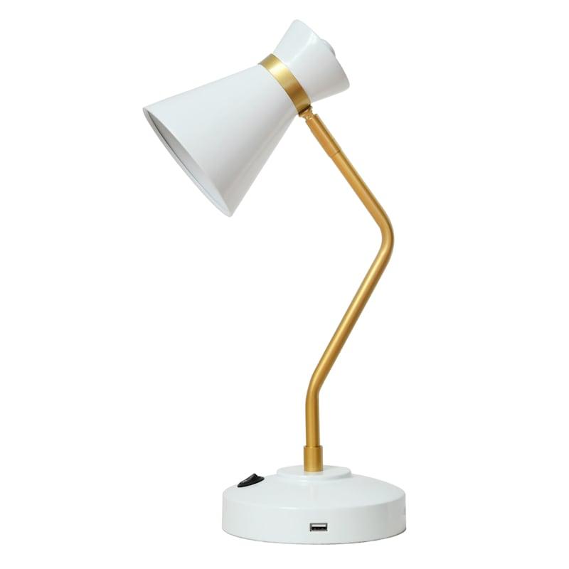 16in. White/Gold USB Task Lamp