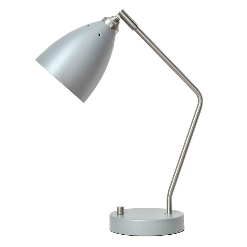 17in. Grey/Silver Metal Task Lamp