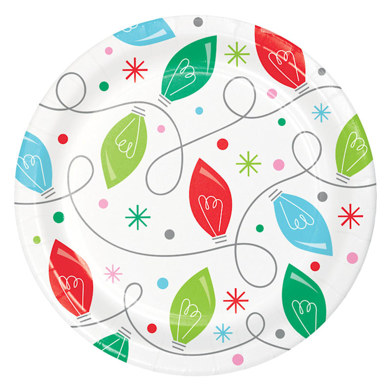 8-Count Holiday Lights Plates