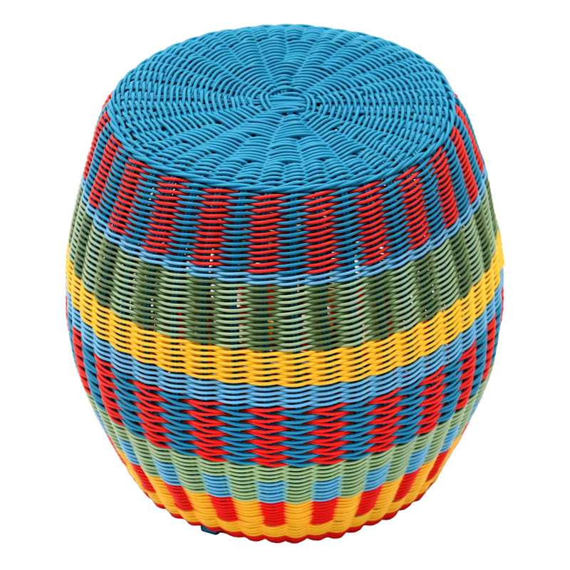 "Rio 17"" Multi Outdoor Wicker Woven Nested Ottoman, Small"