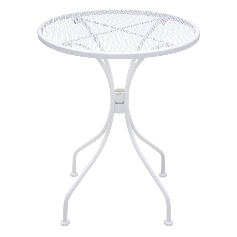 "White Steel Mesh Round Outdoor Bistro Table, 24"""