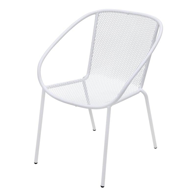 Mesh White Steel Outdoor Bistro Chair
