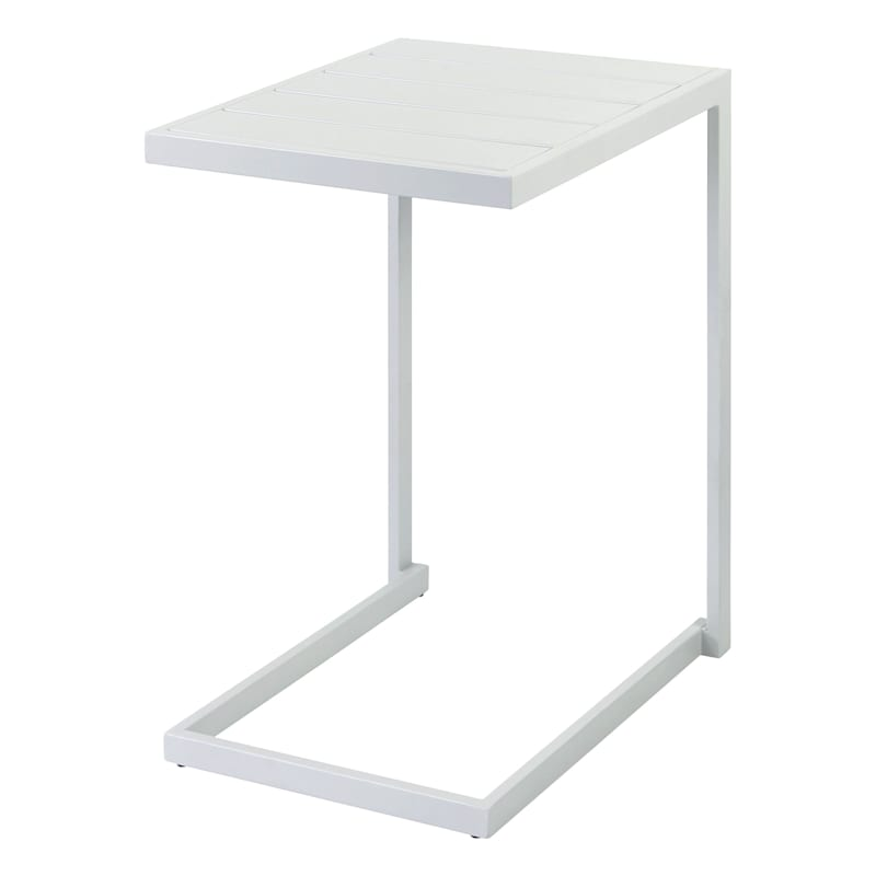 Rio White Steel Slat Outdoor C- Table