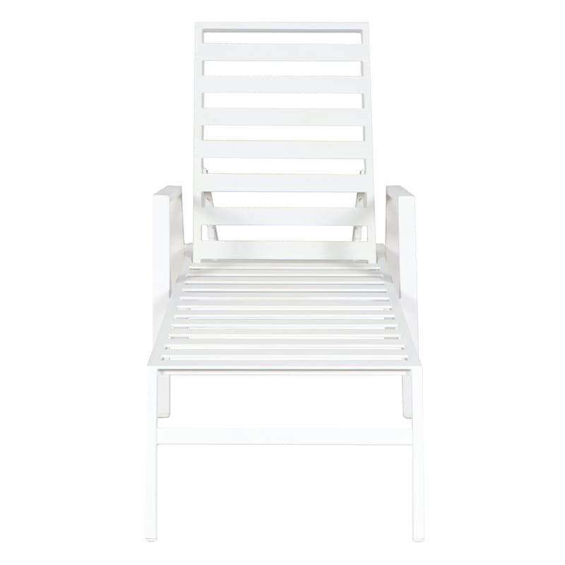 Rio White Outdoor Steel Slat Chaise Lounge