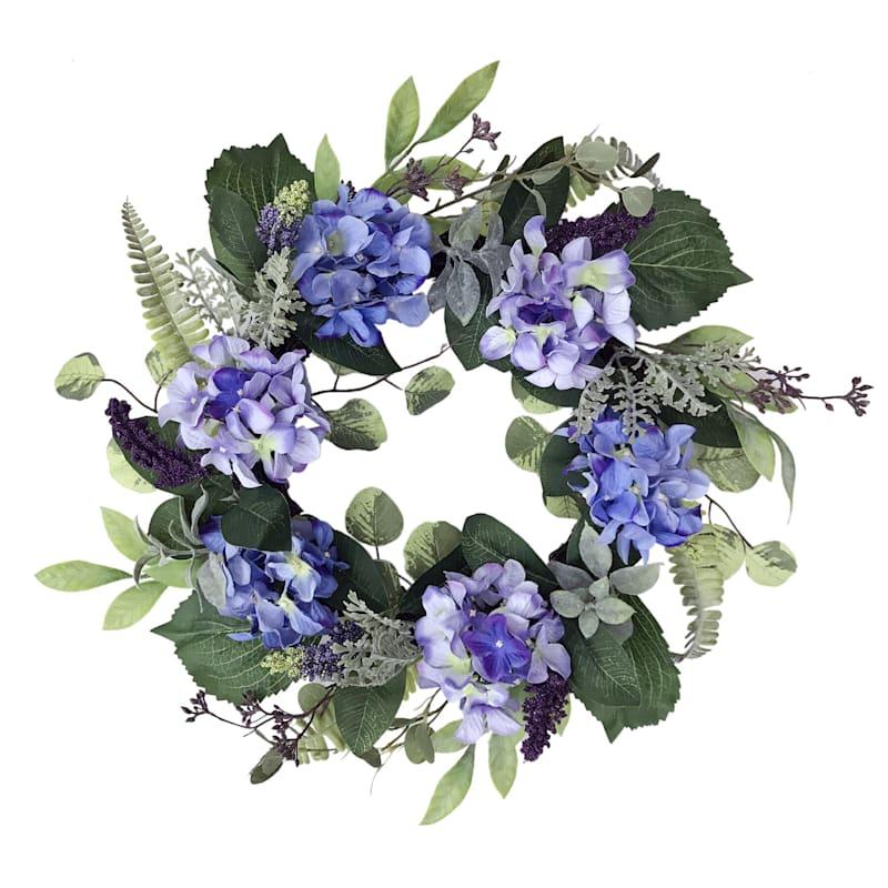"Purple Hydrangea Wreath, 20"""