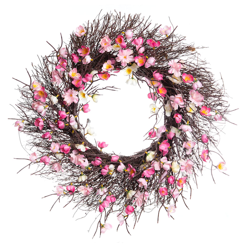 22IN DK PINK BLOSSOM WREATH