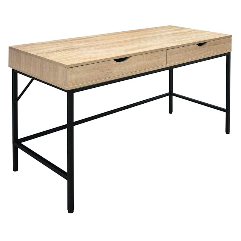 Burnaby Wood/Metal 2-Drawer Desk