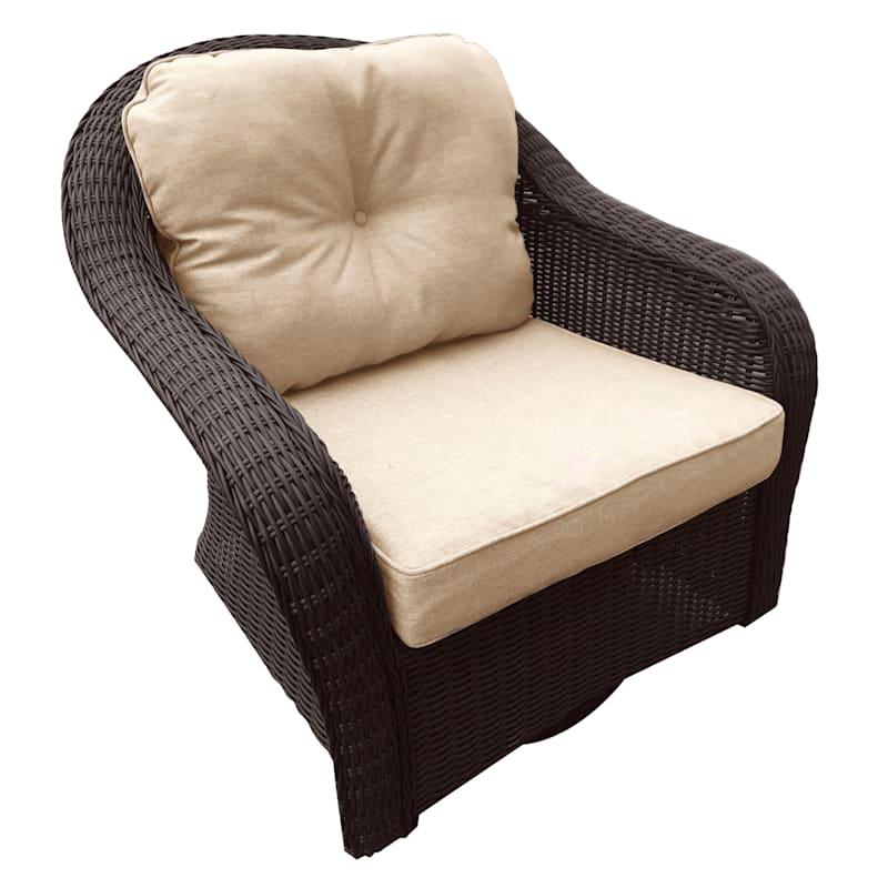 Glendale Brown Wicker Outdoor Swivel Glider Chair